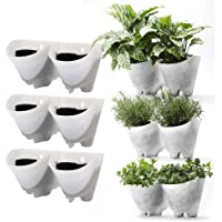 Worth Garden Indoor Outdoor Vertical Wall Hangers with Pots (White) Each Wall Mounted Hanging Pot has 2 Pockets 6 Total Pockets in This Set Indoor Outdoor Self Watering Planter Set, 3 Year Warranty
