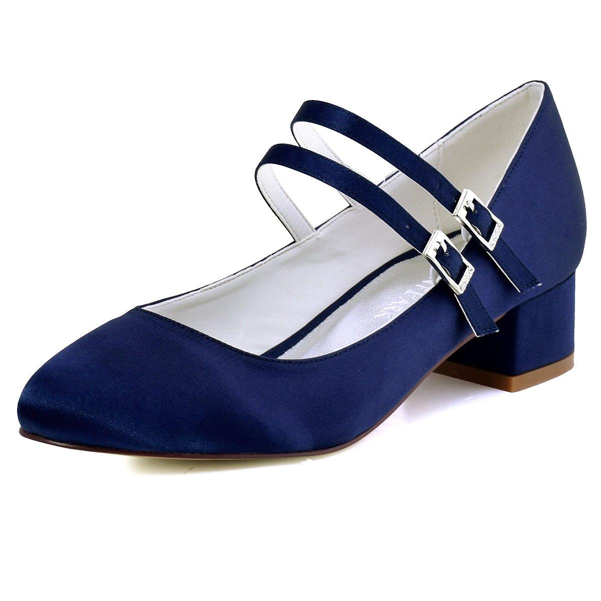 ElegantPark Femmes 19997 Fermé Toe Bloc Talon Mary Mary Chaussures Jane Pompes Satin Chaussures de Mariage Soirée Bleu Marine bea646c - boatplans.space
