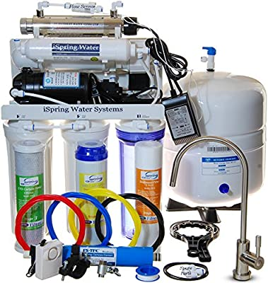 iSpring RCC1UP - 100GPD 6-Stage Reverse Osmosis system featuring Real Booster Pump, 11w UV w/ Flow Sensor Switch, and Clear Housing in 1st stage.
