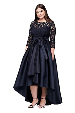 WDH Dress Womens Plus Size Hi-Lo Prom Dress Navy Blue Bridesmaid Dress 16