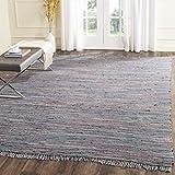 Safavieh RAR121K-8 Rag Rug Collection Hand Woven Aqua/Multi Cotton Area Rug, 8-Feet by 10-Feet
