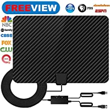 TV Antenna,Indoor HDTV Antenna 50-80 Mile Long Range 2018 Newest Version Type Switch Console Amplifier Signal Booster,USB Power Supply and 16.5FT High Performance Coax Cable for 4K 1080P (black)