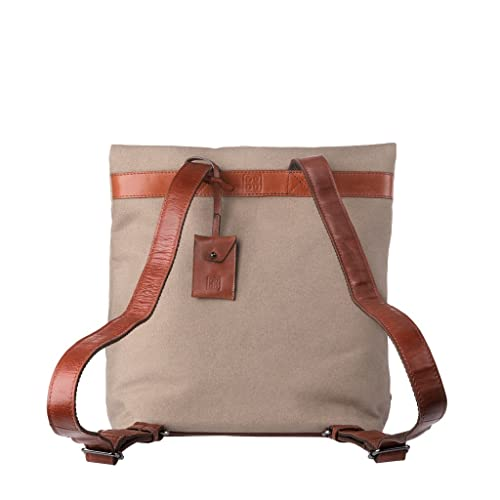 Amazon.com: DuDu Backpack Rucksack Daypack Casual for Men Women in Canvas Genuine Leather Urban College Travel School Bags Buff: Shoes