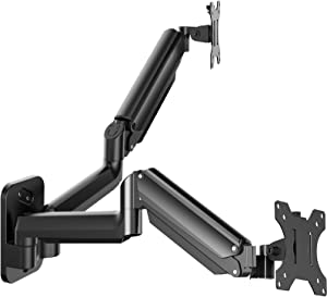 Dual Monitor Wall Mount - Gas Spring Wall-Mounted Stand for 17 to 27 Inch Flat/Curved LCD Screen, Full Motion Adjustable VESA Bracket, Hold up to 17.6lbs Each Arm