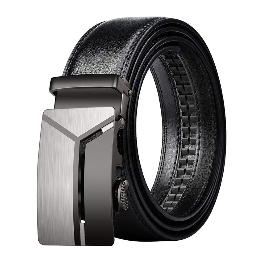 Men's Belt Men's automatic buckle belt Black trousers belt soft 343-Black Open Side Band 120 cm