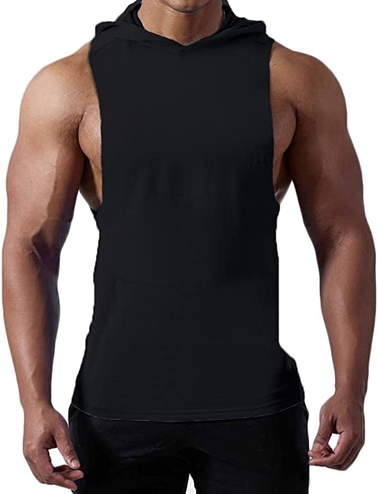 427e9755d667b Magiftbox Mens Workout Hooded Tank Tops Sleeveless Gym Hoodies with Kanga  Pocket Cool and Muscle Cut