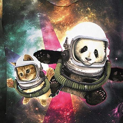 Rusaly Hombres Mujeres 3D Imprimió Sudadera con Capucha Divertido Panda Gato Astronauta Galaxia Estampado Bolsillo Fiesta: Amazon.es: Ropa y accesorios