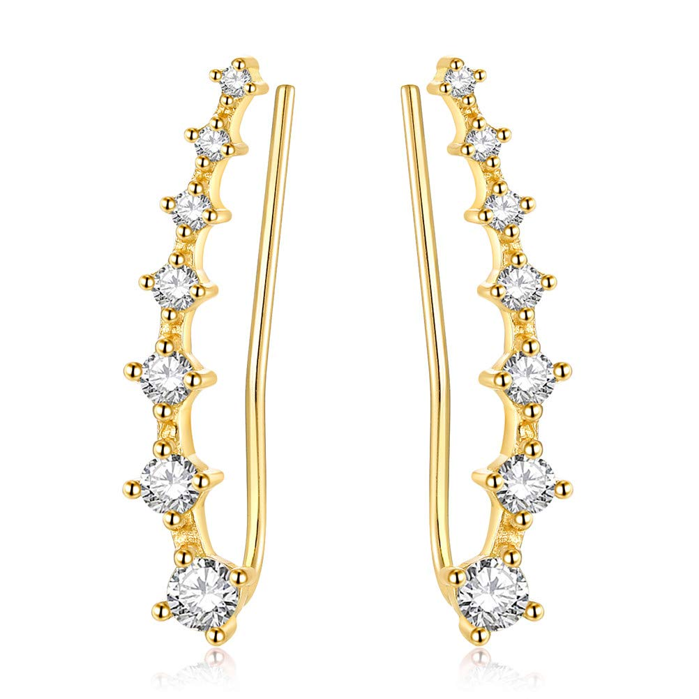 YAN & LEI Sterling Silver Sweep up Ear Pin Crawler Cuff Wrap Climber Earrings with 7 CZ Stones FS-US-002-G