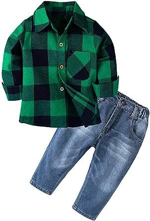 Mitlfuny Conjunto de 2 Piezas Cuadros Blusas + Vaquero Pantalones Jeans Ropa de Bebé Camisetas de Manga Larga Niñas Niños Solapa Botón Verde Camisas ...