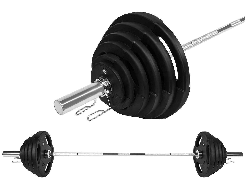 Oly. Gummi-Gripper Hantel-Set 125,5Kg (1 x Oly. Langhantelstange 220cm, 2x1,25, 2x2,5, 2x5, 2x10, 2x15, 2x20Kg Hantelscheiben) Langhantel Hanteln Gewichte