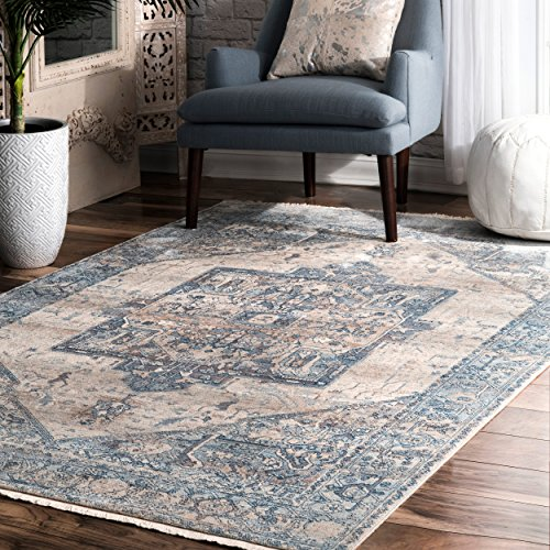 nuLOOM Ehtel Ethel Medallion Fringe Area Rug, 3 x 5 , Light Blue
