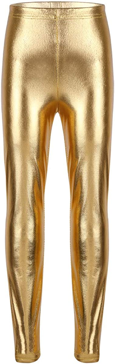 YiZYiF Enfant Fille Pantalon de Danse Classique Cuir Verni Pantalon Ballet Long Pantalon Gymnastique Pantalon Brillant Bas Sport Yoga Collant Legging Running Short 4-12 Ans