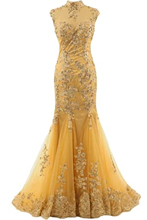Ivyd RESSING Women Luxurioes Collar Lace Mermaid TUELL Prom Dress Party Dress Evening Dress - gold