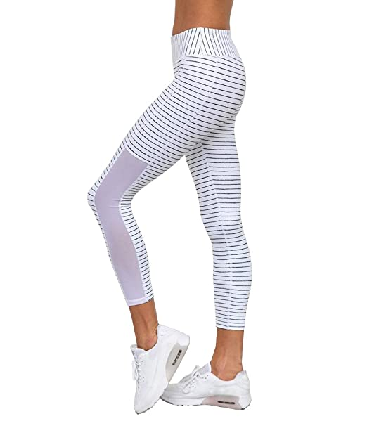 736291c3d987 Damen 3 4 Yoga Leggings Hose , Yogogo Hohe Taille Pants   Trainingshose  Hosen   Mesh Muster Gestreift Leggings   Sport Workout Leggins   Elastische  Dünne ...