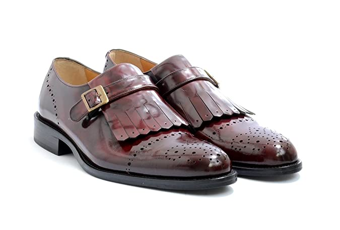 Men's VITELO Classic Polished Leather Fringed Brogue Shoes in Black and Burgundy  TS 45: Amazon.co.uk: Shoes & Bags
