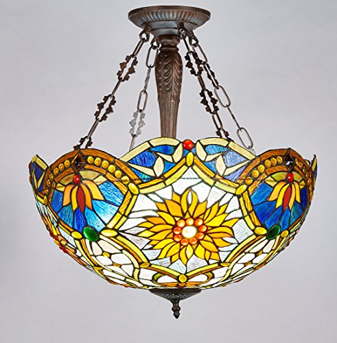 New Legend Tiffany Style Stained Glass Victorian 3-Light Inverted Large Hanging Lamp Ceiling Fixture TL16018, 21-Inch wide (Pendant Lamp Tiffany Large)