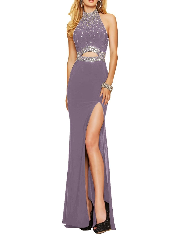 Olidress Women's High Neck Front Split Rhinestone Evening Dress