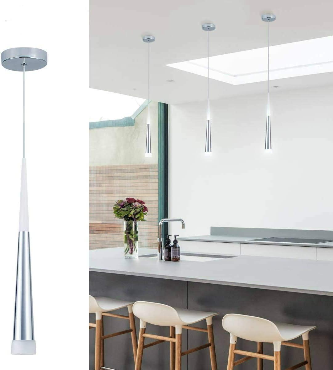 Bewamf Mini Pendant Light Silver Finish With Acrylic Shade Led Cone Adjustable Modern Pendant Lighting For Kitchen Island Dining Room Bar Warm White 3000k 9w 1 Pack Amazon Com