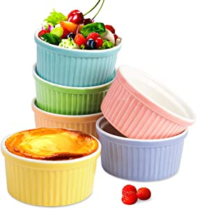 Secura 4 Oz Ramekin Porcelain Souffle Dishes, 4 Ounce, Creme Brulee and Ice Cream, Assorted Colors