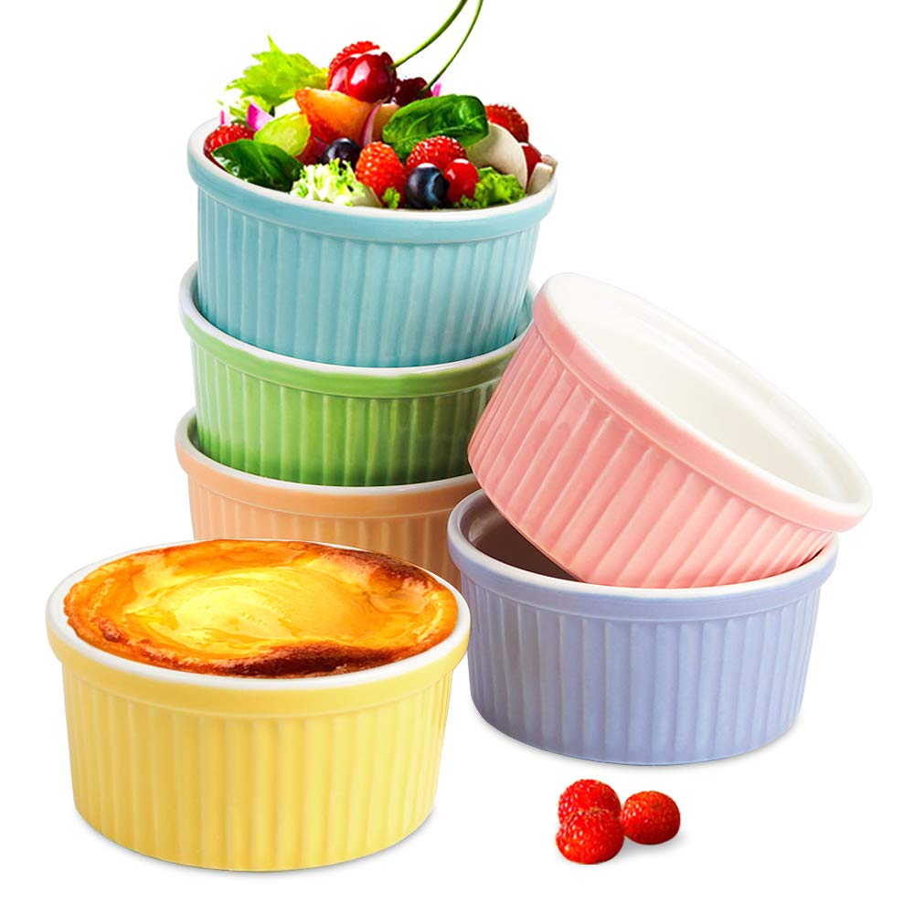 Secura 4 Oz Ramekin Porcelain Souffle Dishes, 4 Ounce, Creme Brulee and Ice Cream, Assorted Colors by Secura
