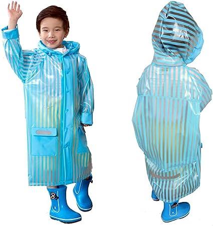 US Stock Blue Children Kid Hooded Raincoat Rain Coat Rainwear Jacket Poncho