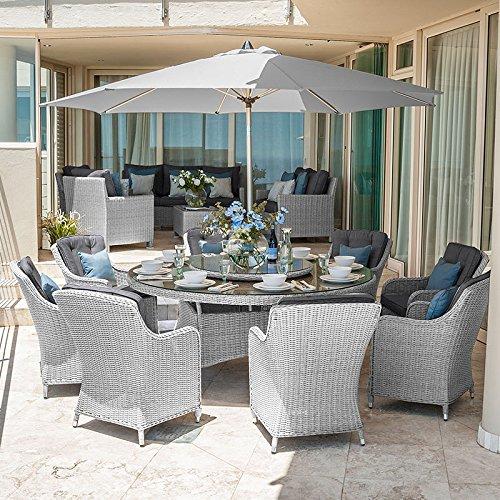 Nova Camilla - Juego de comedor de ratán para exteriores con mesa ...