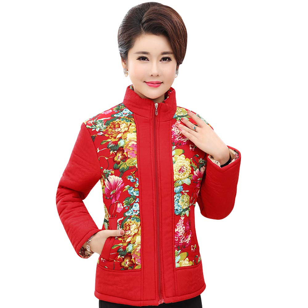 XFentech Floral Stand Collar Winter Jacket Coat Warm Down Coat Outwear Women
