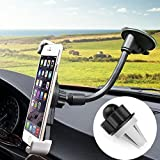 Cell Phone Holder for Car, Air Vent and Windshield Long Arm Car Phone Mount with One Button Design Car Holder for iPhone X/8/7/7P/6s/6P/5S, Galaxy S5/S6/S7/S8, Google, LG, Huawei and More