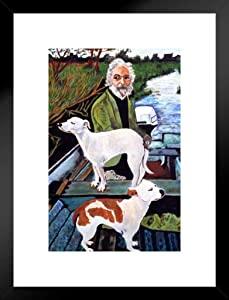 Poster Foundry Man in Boat with Dogs Movie Painting Matted Framed Wall Art Print 20x26 inch