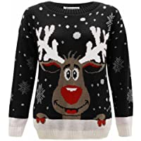 Janisramone Womens Mens New Reindeer Print Christmas Knitted Jumper Long Sleeve Unisex Retro Xmas Sweater Top
