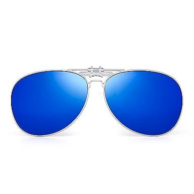 JIM HALO Rétro Clip on Lunettes de Soleil Aviateur Polarisé Lentilles lunettes  Solaire Conduite Hommes ( cf87d6ac8af2