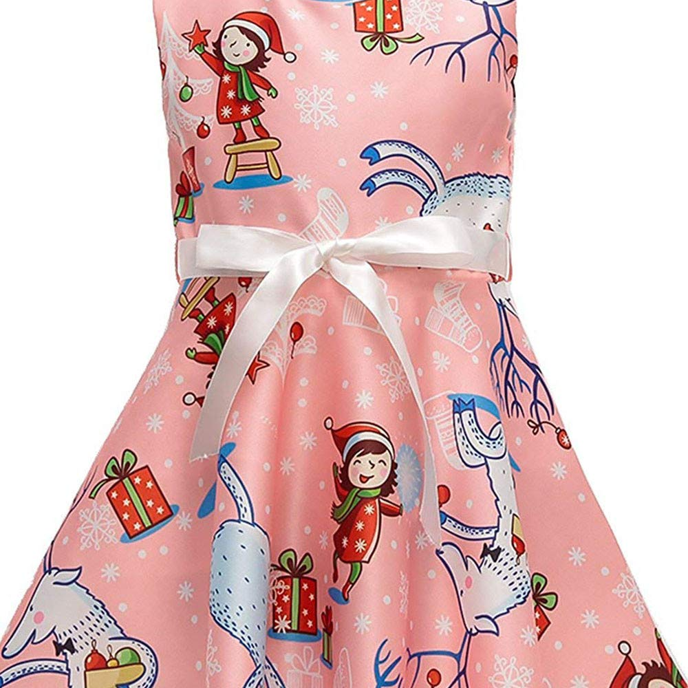 OCEAN-STORE Toddler Baby Girls 12 Months-7T Cartoon Santa Print Princess Dress Christmas Outfits Clothes