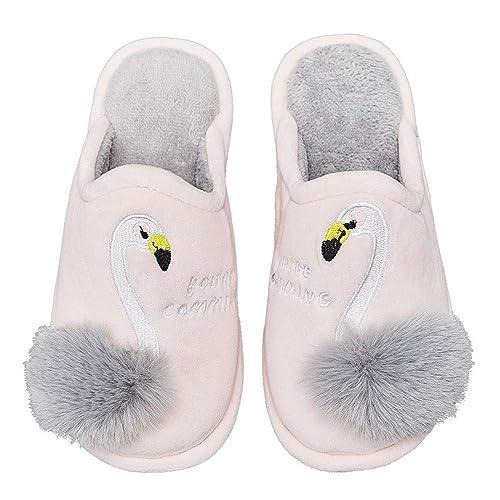 Zapatillas de algodón para Mujer Bonita Caricatura de Flamingo Interior Interior de Gamuza Suave Antideslizante: Amazon.es: Zapatos y complementos