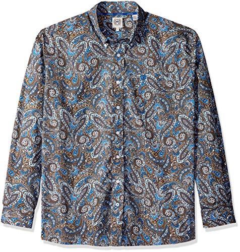 Cinch Men's Classic Fit Long Sleeve Button One Open Pocket Print Shirt, Blue/Brown Paisley, L ()