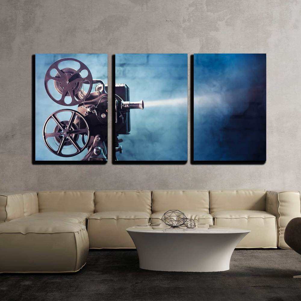 wall26 - 3 Piece Canvas Wall Art - Photo of an Old Movie Projector - Modern Home Decor Stretched and Framed Ready to Hang - 16''x24''x3 Panels