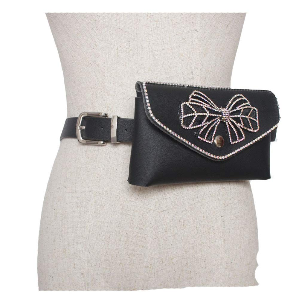 Women Belt Bags Women Mini Belt Bags Crystal Bow Knot Waist Bag PU Leather Fanny Pack Removable Belt with Waist Pouch Travel Sports Bumbag Cell Phone Money Pouch for Women Cross Body Color : Black