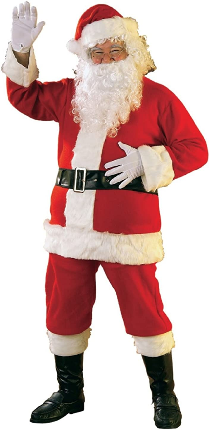 Rubie's Bright Red Flannel Santa Suit with Gloves