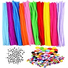 Sunmns 600 Pieces Craft Supplies Set Pipe Cleaners Kit, Includes 200 Pieces Chenille Stems, Self-adhesive Wiggle Eyes and Pompoms for DIY School Art Projects