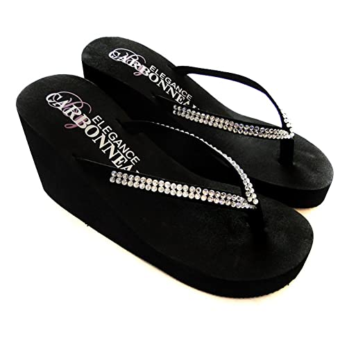 fb2099828db9 Elegance by Carbonneau CRYSTALS Women s High Heel Flip Flop Black Foam  Rubber Sandal - 5 M