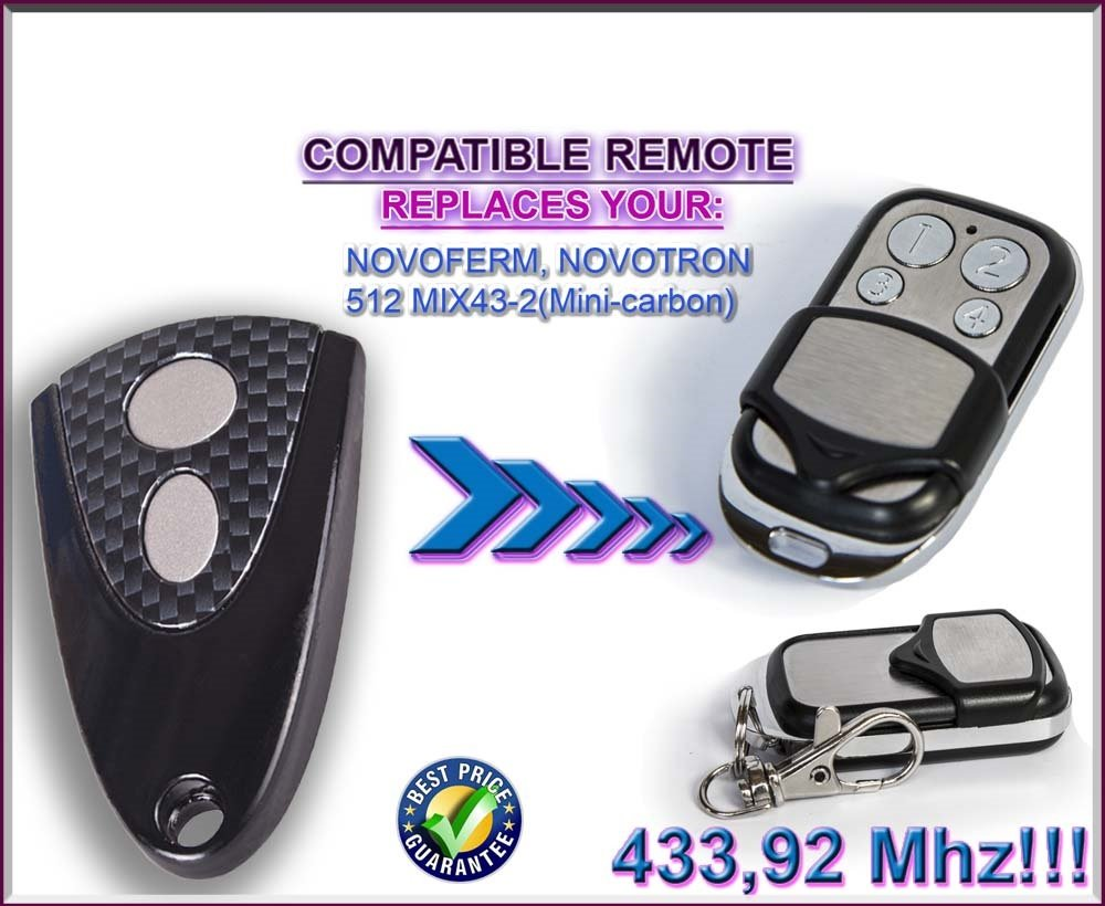 NOVOFERM/NOVOTRON 512, MIX43–2(Mini Carbon) Compatible Mando a distancia 4canales 433,92mhz rolling code Reemplazo emisor de alta calidad para el mejor precio.