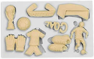 Xidmold World Cup Theme Silicone Fondant Mold Football Fan Soccer Lovers Gifts Chocolate Candy Gum Paste Mold Clay Resin Mold Cake Decorating Tool Cupcake Decoration Sugarcraft Craft Molds Baking Mold
