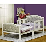 Toddler Bed with Soft Tufted Headboard, Kids Wood