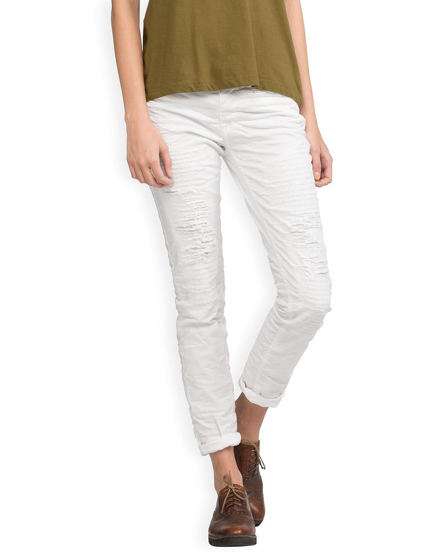 Neushop Women's Please P95HC9D07 Wrinkled Cotton Frayed Pants