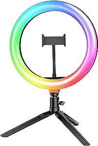 """Luz de Anillo LED con Trípode, BlitzWolf 10.2"""" RGB Anillo de Luz con Soporte de Móvil y Control Remoto Bluetooth, Aro de Luz con 7 RGB Colores Regulable, 10 Niveles de Brillo y 3 Modos de Luz"""