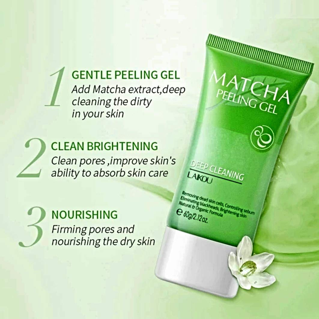 Organic Green Tea MATCHA Deep Cleansing Face Peel - Antioxidants Enriched - Pore Minimizer, Purify, Intensive Oil Control - Superfood Face Treatment