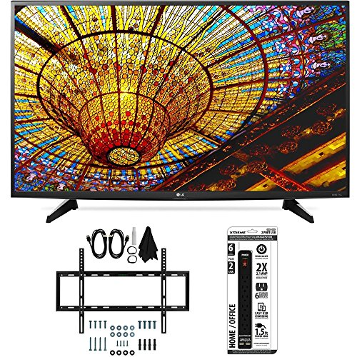 LG 43UH6100 43-Inch 4K UHD Smart TV with webOS 3.0 Slim Flat Wall Mount Bundle includes TV, Slim Flat Wall Mount Ultimate Kit and Power Strip with Dual USB Ports