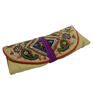 Designer Jewelry Roll Purse Velvet Fabric Beaded Material paisley