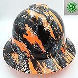 Wet Works Imaging Customized Pyramex Full Brim Hi Vis Orange Urban Camo Hard Hat With Ratcheting Suspension