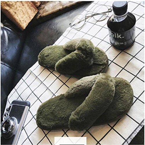 Elevin (tm) 2017women Inverno Creativo Casa Coperta Imitazione Pelliccia Peluche Casa Spa Infradito Pantofole Verde