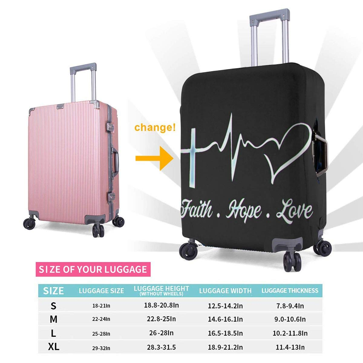 Faith Hope Love Travel Luggage Cover Suitcase Protector Washable Zipper Baggage Cover